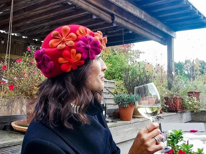 Haarfilzhut Damen Filzblumen-ansicht